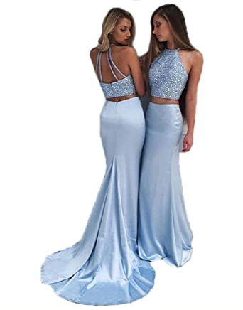 Chenghouse 2 Piece Prom Dresses 2018 Beaded Mermaid Prom Dress - Blue - 30 Plus