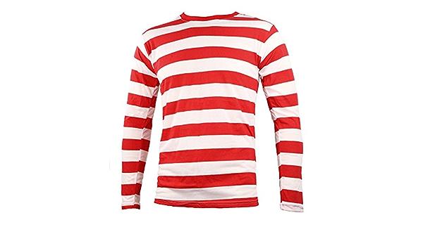 Largemouth Camisa de manga larga a rayas para hombre rojo blanco