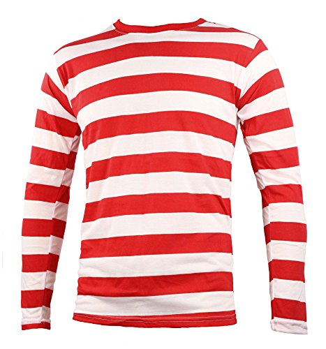 Adult Men's Striped Long Sleeve Shirt Red White (Red And White Striped Shirt Costume)