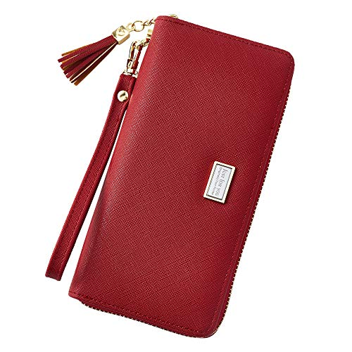 Cyanb Wallet for Women Large Bifold Wristlet Soft Leather with Tassel Card Money Organizers Wine Red