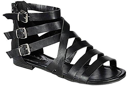 Breckelles Womens Covina-24 Gladiator Strappy Flat Sandals Black CVTd6U9