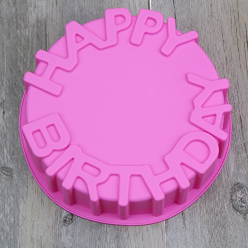 Happy Birthday Cake Mold 1PCS Silicone Happy Birthday Round Cake Mold Pan Kitchen Baking Tools Mould Bread Pie Flan Tart Cakes Bakeware Decorating