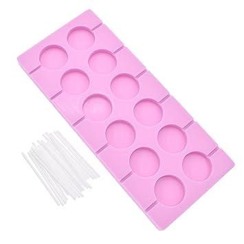 YNuth Molde para Piruletas de Silicona con 12 Ranuras Redondas para Fabricación de Chupetes con Palillos: Amazon.es: Hogar