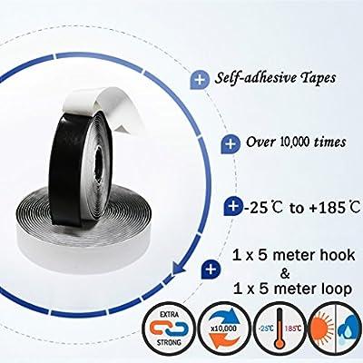 20 mm de Ancho Gancho y Bucle Negro Eroilor 8 m Hook y Loop Auto Adhesivo Autoadhesivo