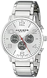 Akribos XXIV Men's AK803SSW Multifunction Swiss Quartz Movement Watch with Silver Dial and Stainless Steel Bracelet