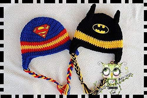 6e4cb54bd Gorro Superman/Batman AMIGURUMI PERSONALIZABLE (Bebé, crochet, ganchillo,  muñeco, peluche
