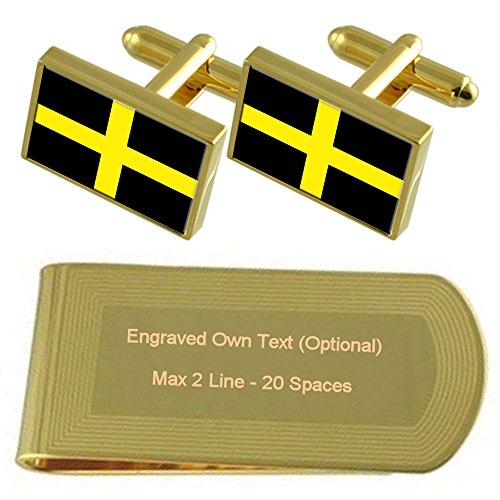 Flag Money Gift Gold St tone Cufflinks Engraved Cross Set Clip David's qnz771xY