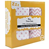Crib Sheets | 100% Eco-Friendly Combed Jersey Cotton | Three Zees 180GSM Premium Extra Soft Bedding - 2 Pack (Pink)