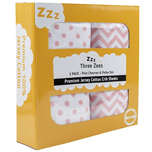 Crib Sheets | 100% Eco-Friendly Combed Jersey Cotton | Three Zees 180GSM Premium Extra Soft Bedding - 2 Pack (Pink) by Three Zees
