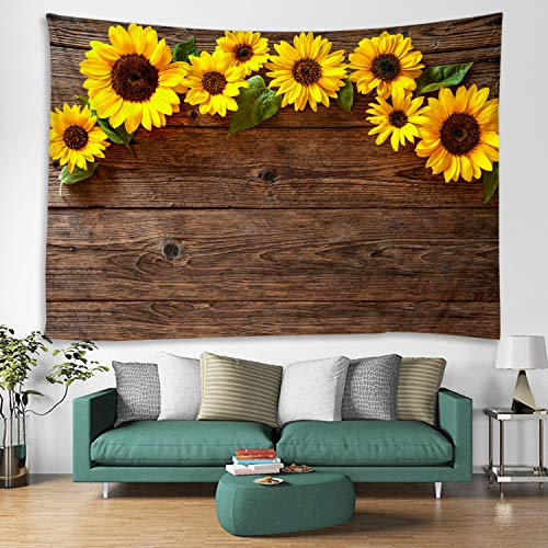 (Wooden Board Sunflower Flower Fabric Tapestry Decor Wall Art Tablecloths Bedspread Picnic Blanket Beach Throw Tapestries Colorful Bedroom Hall Dorm Living Room Hanging 59 x 51 inches)