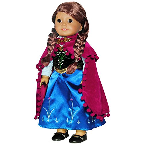 Pink Butterfly Closet Doll Clothes - Princess Anna Dress Outfit WITH EMBROIDERED DETAILS Fits American Girl Doll and 18 inch dolls Baby Doll Turtleneck Dress
