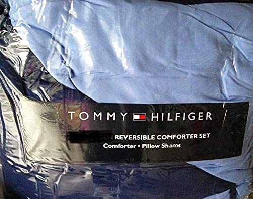 (Tommy Hilfiger Solid Reversible Comforter Set King - Blue & Navy)