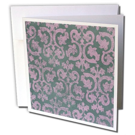 3dRose InspirationzStore Damask patterns - Grunge pink and grey damask - dark gray - faded fancy Victorian wallpaper swirls - vintage classic - 1 Greeting Card with envelope (Swirl Vintage Wallpaper)