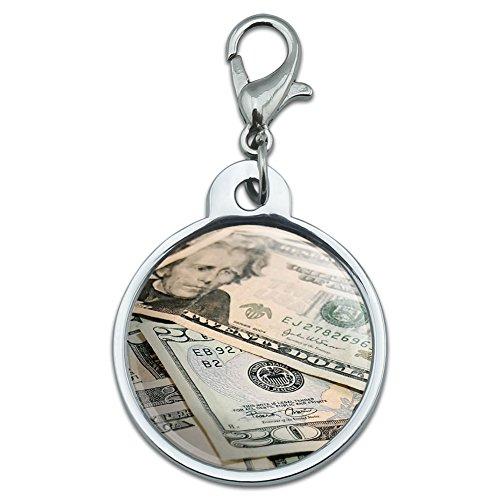 Chrome Plated Metal Small Pet ID Dog Cat Tag Symbols - Twenty Dollar Bills Money Currency