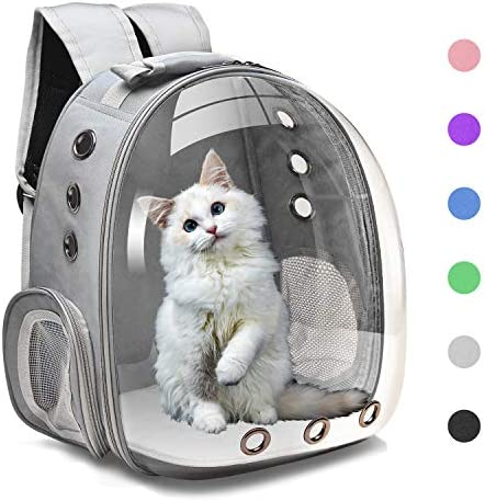 Henkelion Cat Backpack Carrier Bubble Bag, Small Dog Backpack Carrier for Small Dogs, Space Capsule Pet Carrier Dog Hiking Backpack Airline Approved Travel Carrier – Black Grey Pink Blue Purple Green