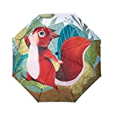 Sunny World Compact Folding Travel Umbrella with Children's Cartoon Squirrel Painting