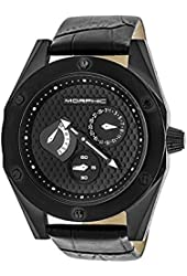 Morphic Men's 'M46 Series' Quartz Stainless Steel and Leather Casual Watch, Color:Black (Model: MPH4604)