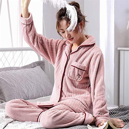 Baijuxing Manga M Coral 2 Sets Informal Larga Otoño Servicio Domicilio Pijama De Mujeres Terciopelo Invierno Dormir Y Cálido Pantalones A Suave Franela E rwqOFr