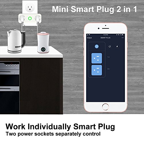 AOCOBOOK Smart Socket Dual Outlet Compatible with Alexa and Google Assistant,Remote Control Outlet with Timing Function,No Hub Required,Mini smart plug 2 in 1 by AOCOBOOK (Image #5)