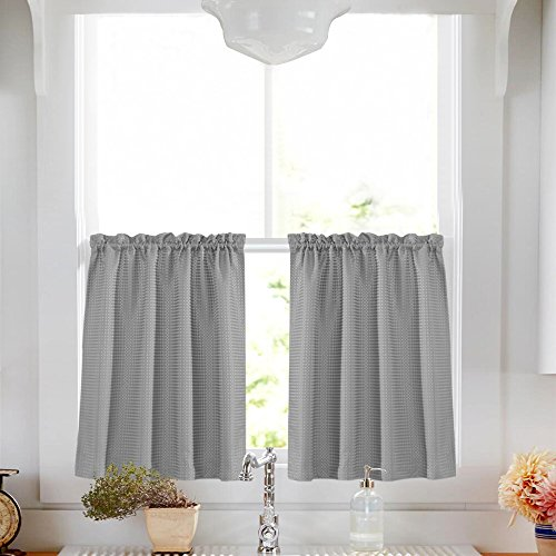 Lazzzy Gray Tier Curtains for Bathroom 36 Inch Grey Waterproof Kitchen Curtains Over Sink Waffle-Weave Textured Cafe Curtain Set 1 Pair (Curtains Gray Cafe)
