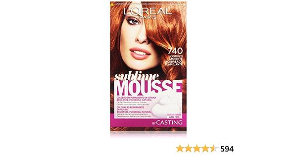 LOreal Paris Sublime Mousse Coloración Permanente, Tono: 740 Cobrizo Ardiente - 200 g