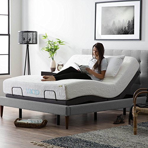 King Queen Bedroom Suite - LUCID L300 Adjustable Bed Base - 5 Minute Assembly - Dual USB Charging Stations - Head and Foot Incline - Wireless Remote Control - Upholstered - Ergonomic - Queen - Charcoal