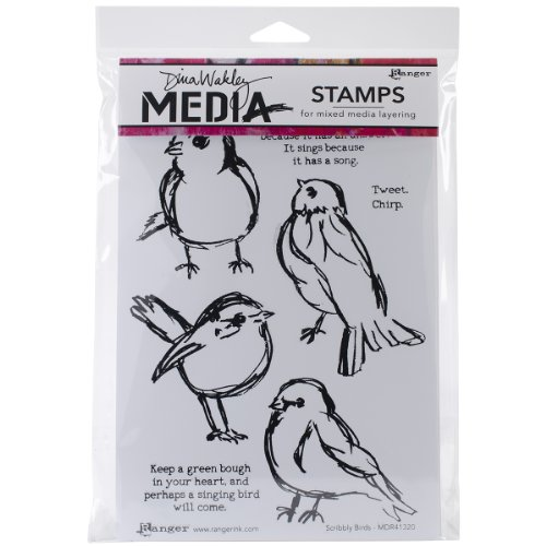 Ranger Dina Wakley Media Cling Stamps, 6 by 9-Inch, Scribbly Birds by Ranger