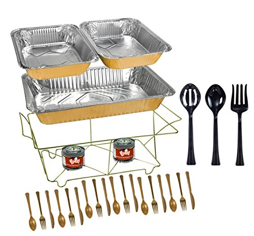 Tiger Chef 33-Piece Gold Food Warmer Chafing Dish Buffet Set, Disposable Chafing Dishes with Colorful Baking Pans, Fuel Gel, Serving Utensils and Plastic (Chafer Rack)