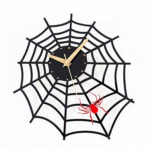 Spider Web Clock (MCC Creative Fashion Wall Clock Personality Cute Cartoon Bedroom Living Room Spider Web Clock ,)