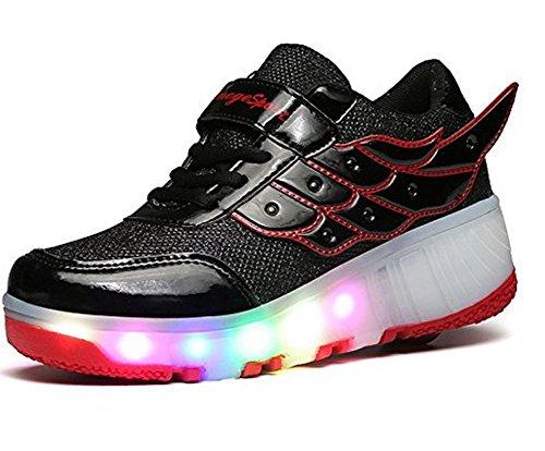 ECOTISH Junge Mädchen Dchen LED Schuhe mit Rollen Herren Flügel Skateboard Rollschuhe Damen Sneaker Leuchtend Sport Schuhe Sportschuhe Wanderschuh für Unisex-Kinder