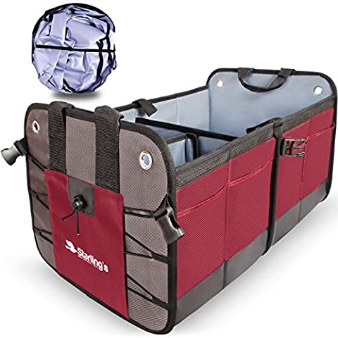 Car Trunk Organizer By Starling's:Eco-Friendly Premium Cargo Storage Container, Best for SUV, Truck, Auto & any Vehicle Heavy Duty Construction W/ Car Sunshade - Enhance Your Travel (Sub Cargo Organizer)