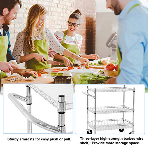 Heavy Duty Utility Cart Wire 3 Tier Rolling Cart Organizer NSFKitchenCart on Wheels Metal Serving Cart Commercial Grade with Wire Shelving Liners and Handle Bar for Kitchen Office Hardware,Chrome by FDW (Image #3)