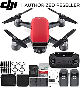 DJI Spark Portable Mini Drone Quadcopter Fly More Combo Bundle (Lava Red) from SSE