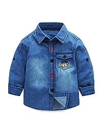Mud Kingdom Boys' Denim Button Down Shirts Jean Shirt Jackets Cartoon Pocket