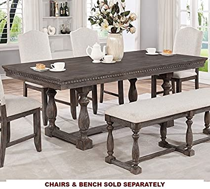 Regent Weathered Grey Wood Rectangular Dining Table By Crown Mark