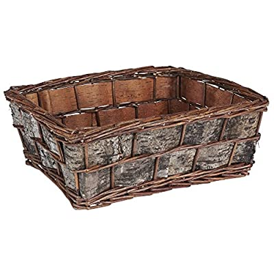 Household Essentials ML-3010 Decorative Wicker Basket | Handmade Storage Bin | Birch Bark - DECORATIVE, HANDWOVEN wicker basket that creates storage space out of natural textures GORGEOUS BLENDED wicker and textured bark create an accent piece for storing on coffee tables or as a breadbasket SPACIOUS FLAT BOTTOM fits plenty of magazines, decorative balls, mail, and much more - living-room-decor, living-room, baskets-storage - 51LVHTARa2L. SS400  -