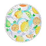 KESS InHouse Mukta Lata Barua Lemon Love Yellow Teal Abstract Food Vector Digital Round Beach Towel Blanket