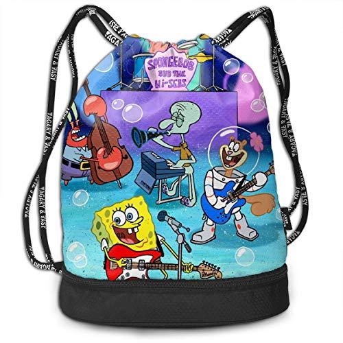 PSnsnX Drawstring Backpack Spongebob Party Sports Gym Cinch Sack Bag for Women Men Children Sackpack Dance Bag