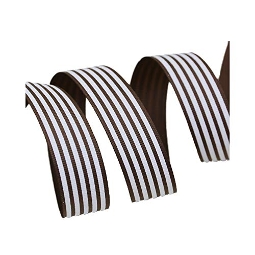 5 Yards/lot 25mm Stripe Grosgrain Ribbon Printed Gift Wrap Decoration Ribbons,Coffee