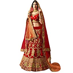 EVERWILLOW Women's Pure Satin Silk Semi-stitched Lehenga Choli (Bukkey2_Red_LLC_Red_Free Size)