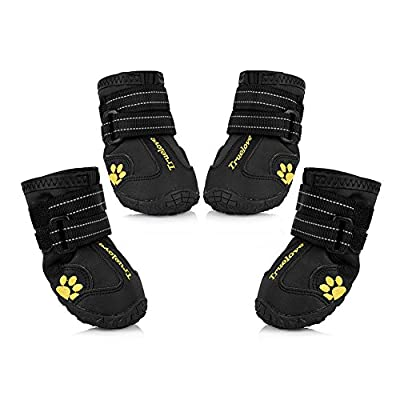 Petacc Dog Boots Waterproof Dog Shoes for Large Dogs and Black Labrador Waterproof 4 Pcs