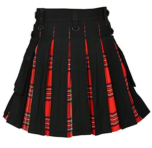 Men 's Hybrid Utility Kilt Black & Royal Stewart Tartan (Belly Button 40)