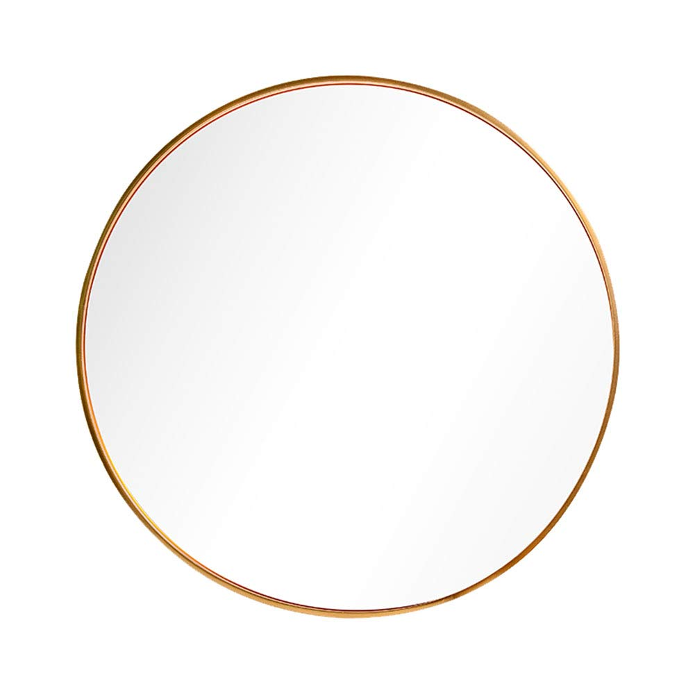 Brushed gold 70cm(27.5inches) Bathroom Wall Hanging Round Mirror -50cm Bedroom Vanity Mirror, Aluminum Alloy Frame, European high-Definition Explosion-Proof