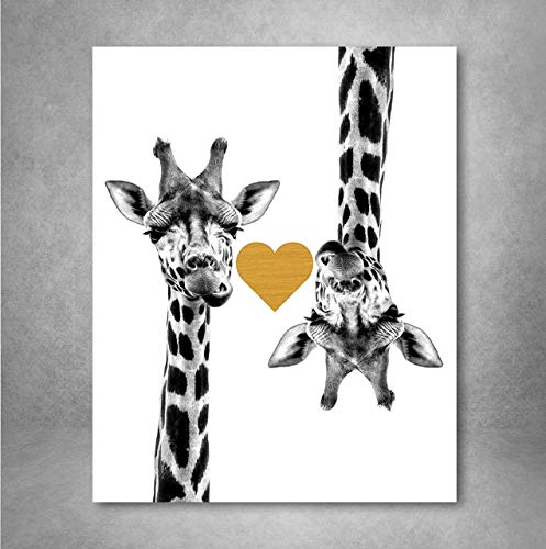 - Gold Foil Art Print - Giraffe Love With Gold Foil Heart 8x10 inches