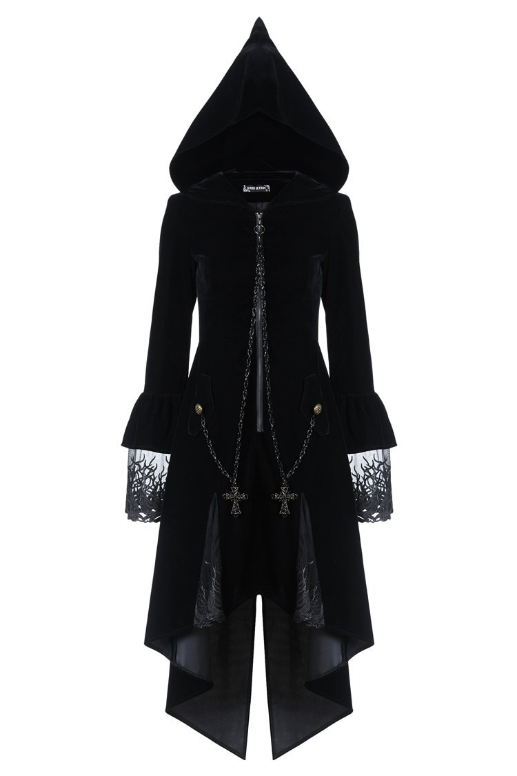 DARK IN LOVE JW109 Gothic Witch Mysterious Velvet Coat With Detachable Cross Zipper