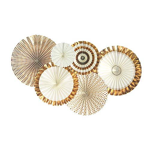 Party Hanging Paper Fans Decoration, Round Pattern Paper Garlands Set for Thanksgiving Christmas Birthday Wedding Graduation Events Accessories by Luckystar (Gold)