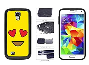 Bright Yellow Heart Eyes Smiley Face 2-Piece Dual Layer Phone Case Back Cover Samsung Galaxy S4 I9500