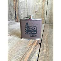 Moose Engraved Personalized Leather Flask