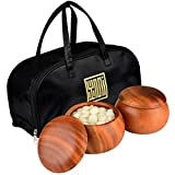 Go Stones and Bowls Set with Double Convex 9.2 Millimeter (Size 33) Yunzi Stones and Camphor Wood Bowls (Gosu)