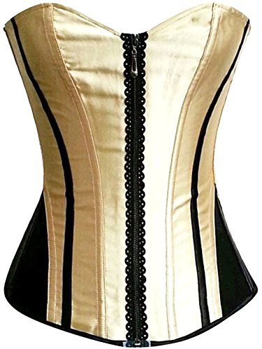 Jewlryfinds Fashion Lady Distinctive Satin Lace-up Interlaced Corset (Roses Brocade Lace Up Corset)